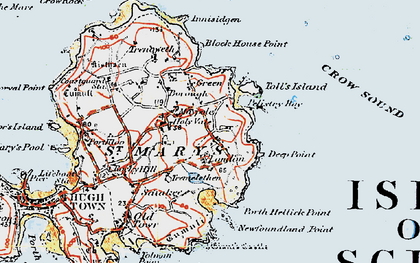 Old map of Toll's Island in 1919