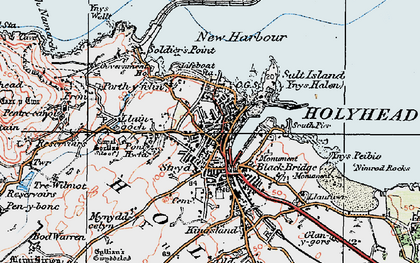 Old map of Holyhead in 1922