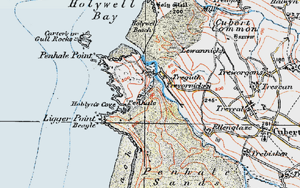 Old map of Holywell in 1919