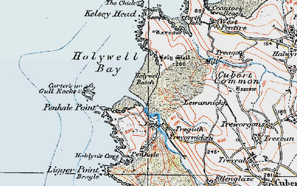 Old map of Holywell Bay in 1919