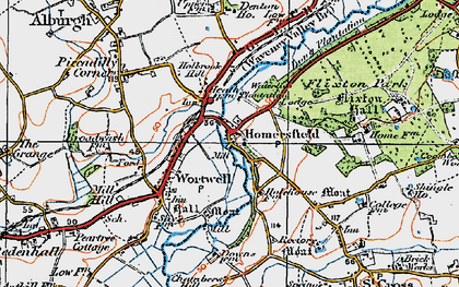 Old map of Homersfield in 1921