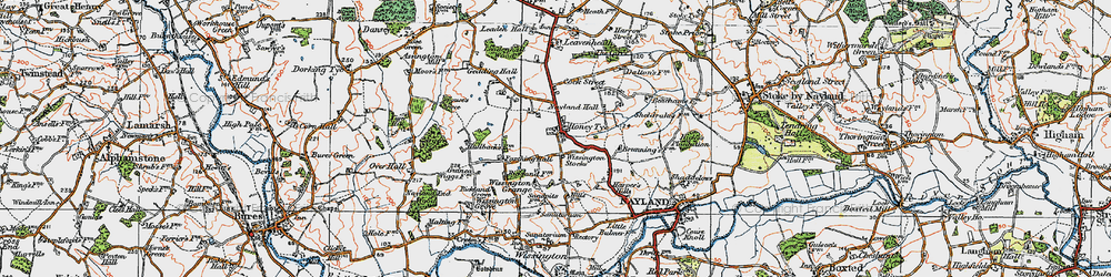 Old map of Wissington Grange in 1921