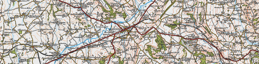Old map of Honiton in 1919