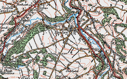 Old map of Honley in 1924