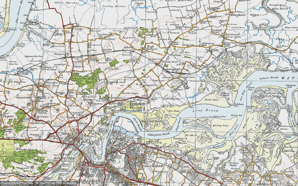 Old Map of Historic Map covering Abbots Court in 1921