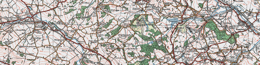 Old map of Hood Green in 1924
