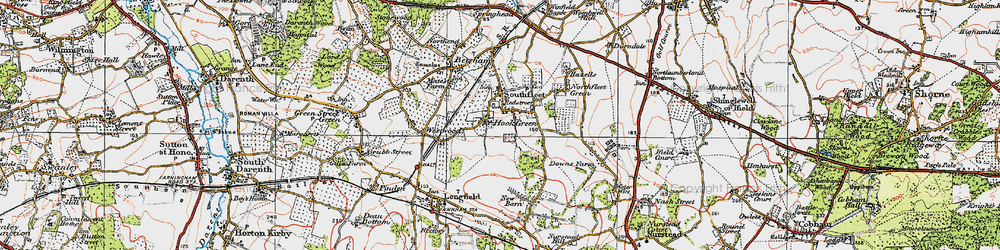 Old map of Hook Green in 1920
