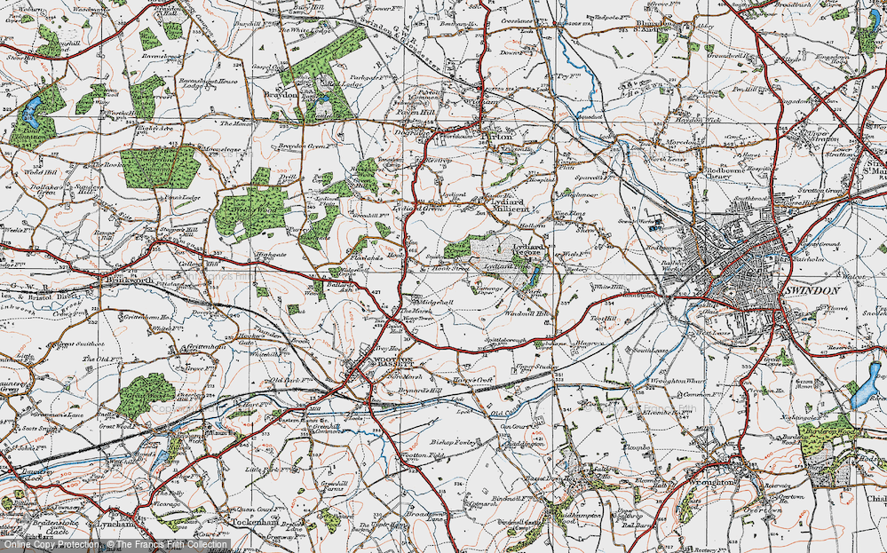 Old Map of Historic Map covering Letterage Copse in 1919