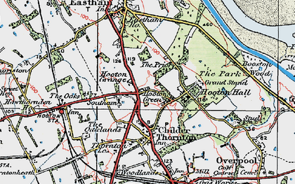 Old map of Hooton in 1924