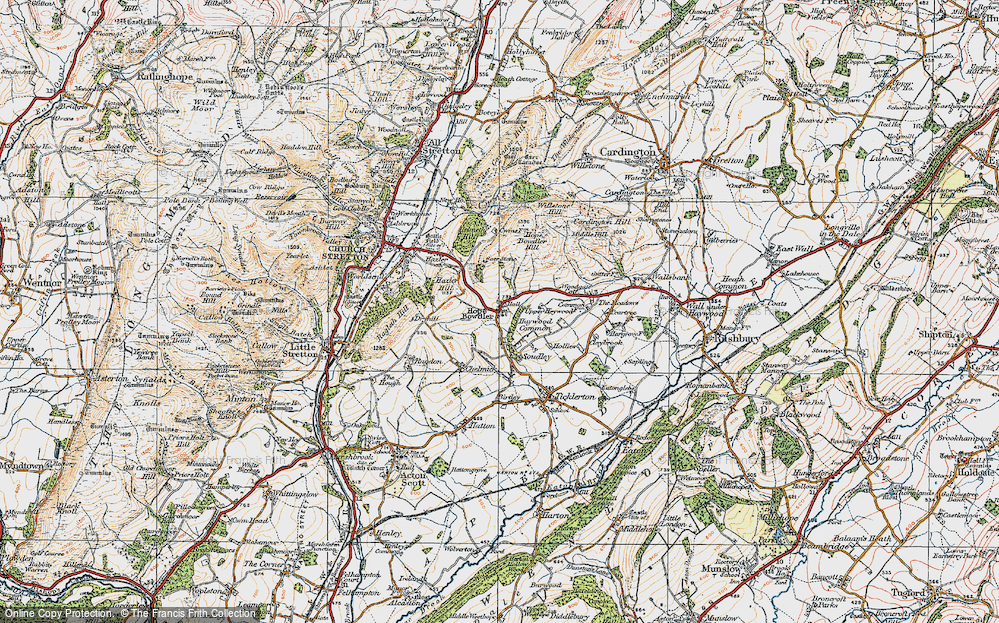 Old Map of Historic Map covering Woodgate Cott in 1920