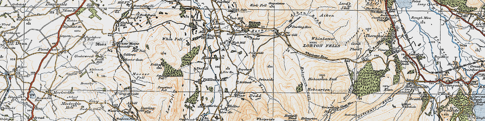 Old map of Whinlatter Pass in 1925