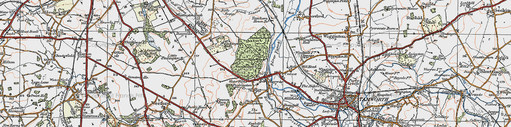 Old map of Hopwas in 1921