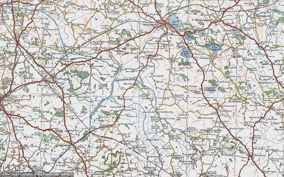 Old Map of Hordley, 1921 in 1921