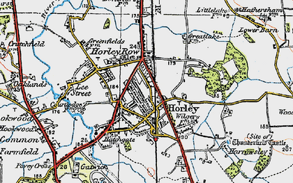 Old map of Horley in 1920