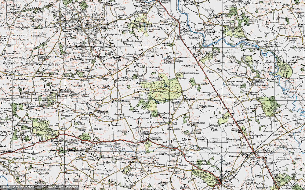 Old Map of Historic Map covering Abour Hill in 1925