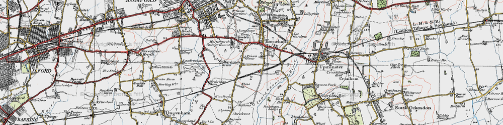 Old map of Hornchurch in 1920