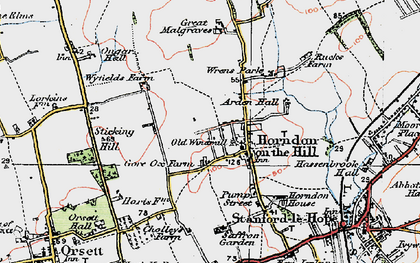 Old map of Horndon on the Hill in 1920