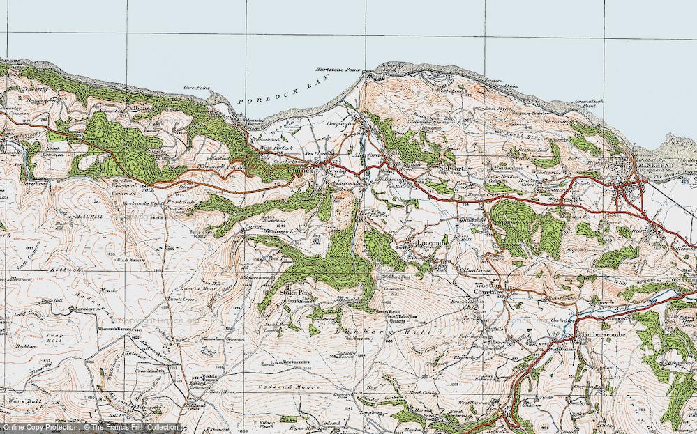 Old Map of Horner, 1919 in 1919