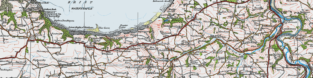 Old map of Horns Cross in 1919