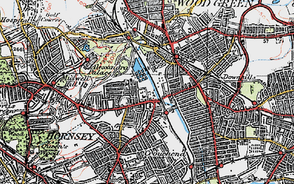 Old map of Hornsey in 1920