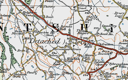 Old map of Willington Cross in 1921