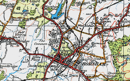 Old map of Horsham in 1920