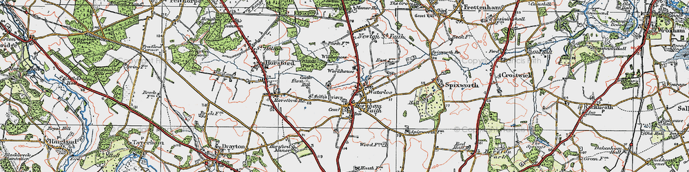 Old map of Horsham St Faith in 1922