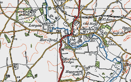 Old map of Horstead in 1922