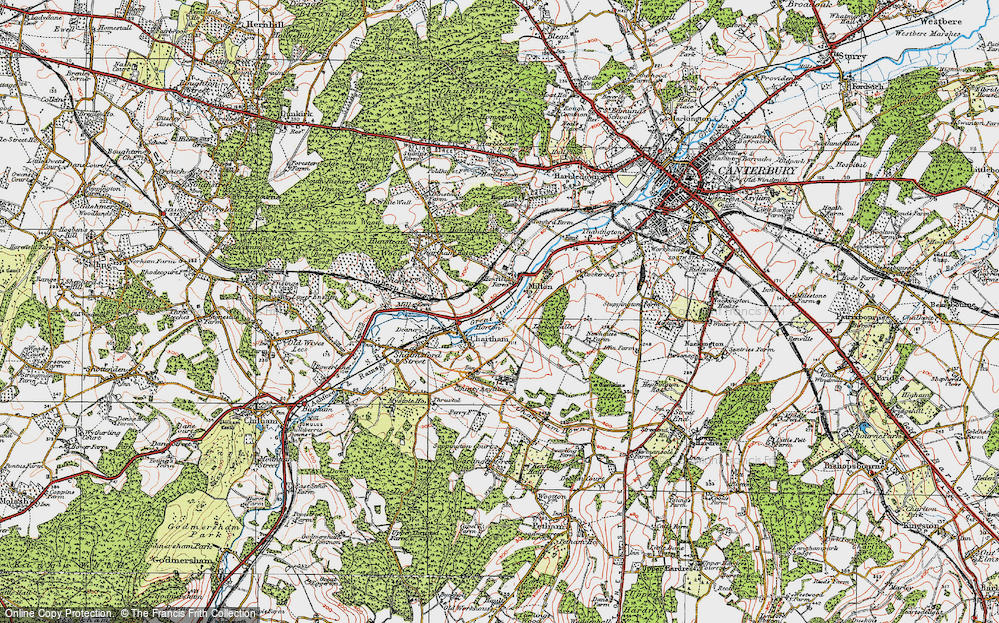 Old Map of Historic Map covering Larkey Valley Wood in 1920