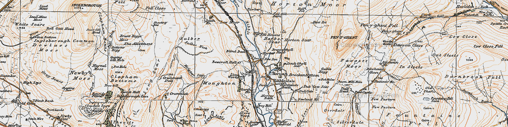 Old map of Horton in Ribblesdale in 1924