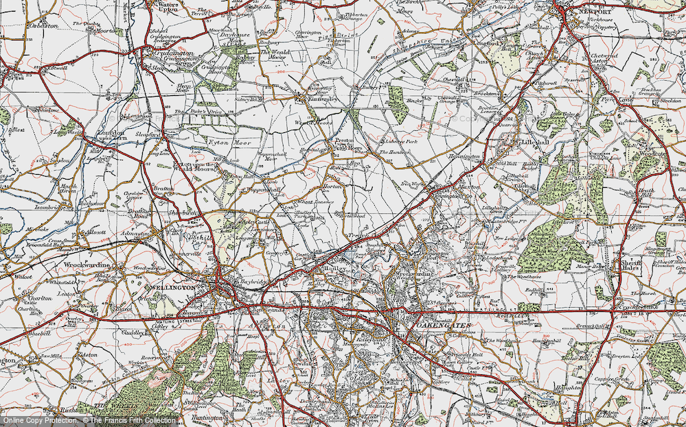 Old Map of Historic Map covering Wheat Leasows in 1921