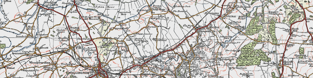 Old map of Wheat Leasows in 1921