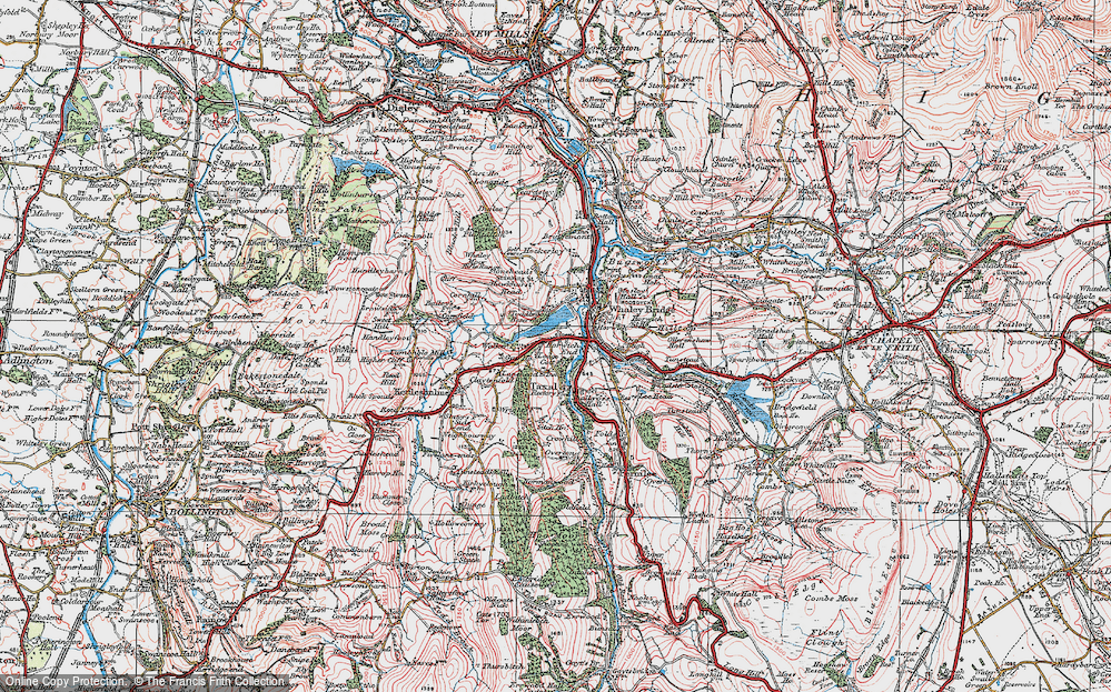 Old Map of Historic Map covering Toddbrook Resr in 1923