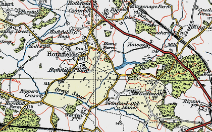 Old map of Hothfield in 1921