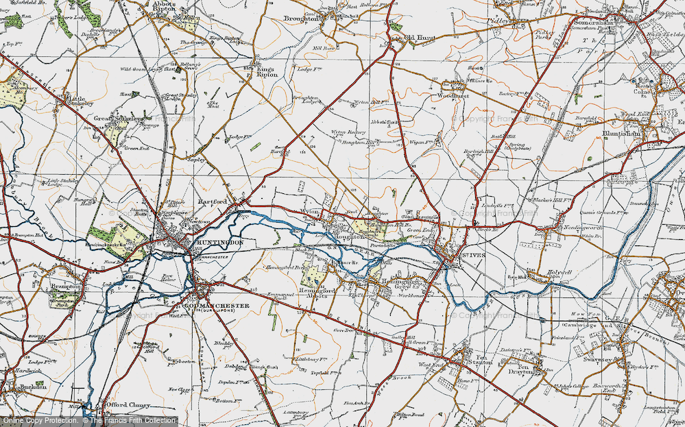 Old Map of Historic Map covering Wyton in 1919