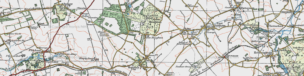Old map of Houghton in 1921