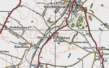 Old map of Houghton St Giles in 1921