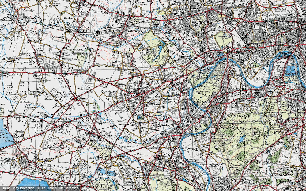 Old Map of Hounslow, 1920 in 1920