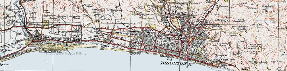 Old map of Hove in 1920