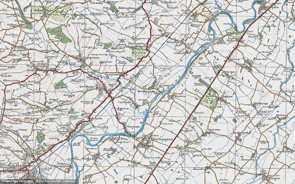 Old Map of Historic Map covering Toot Hill in 1921
