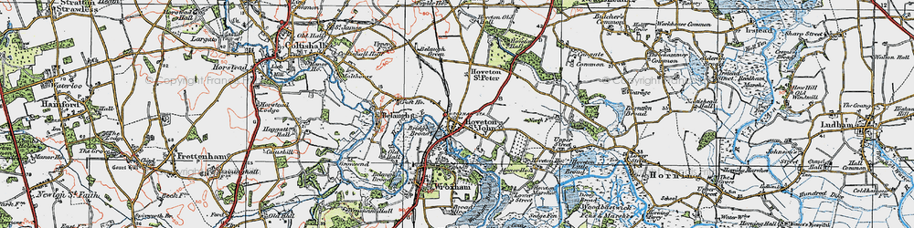 Old map of Hoveton in 1922