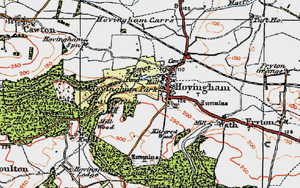 Old map of Hovingham in 1925