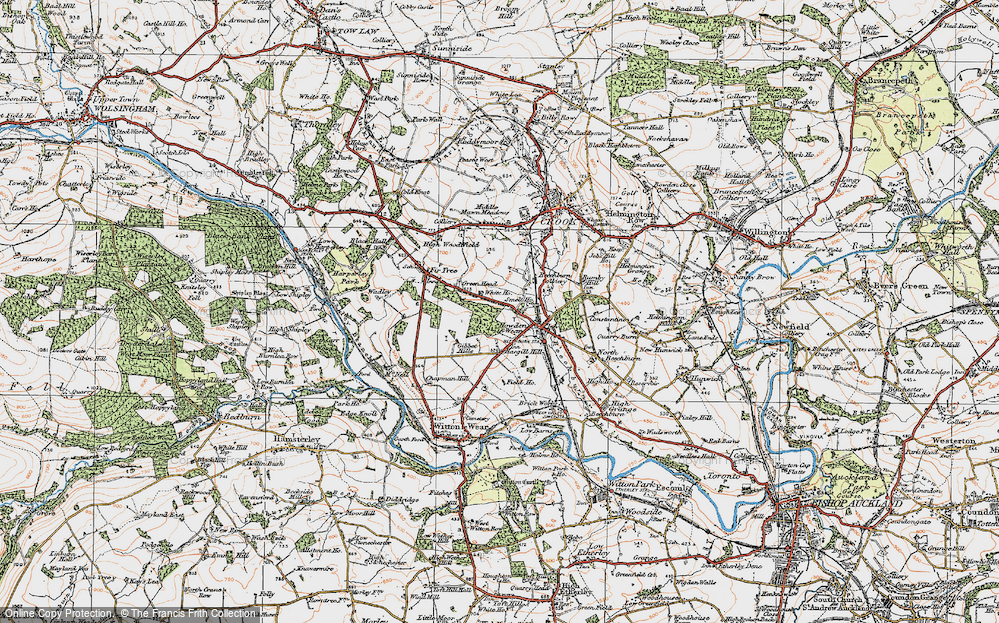 Old Map of Howden-le-Wear, 1925 in 1925