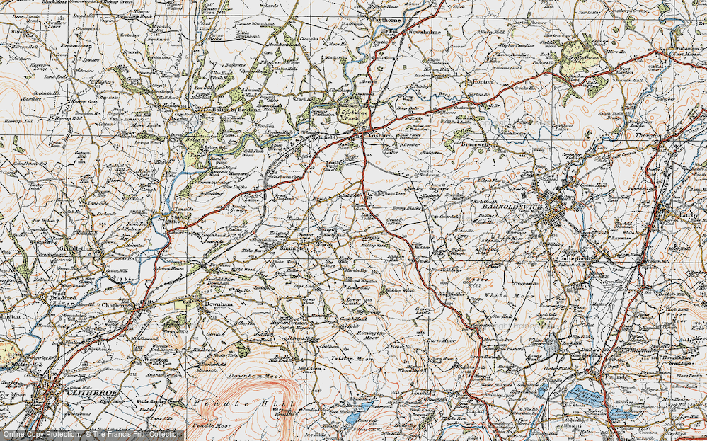 Old Map of Historic Map covering Lane Side in 1924