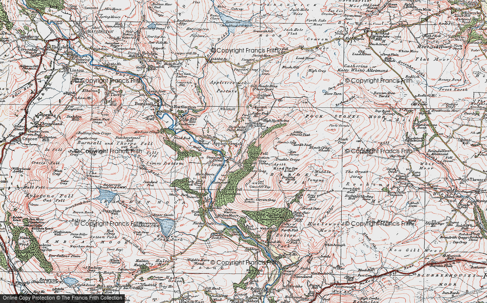 Old Map of Historic Map covering Barden Fell in 1925