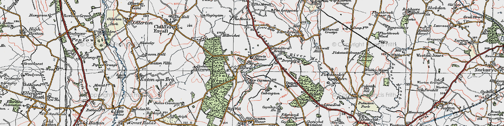 Old map of Ercall Heath in 1921