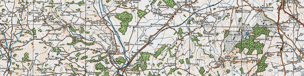 Old map of Worm Brook in 1919