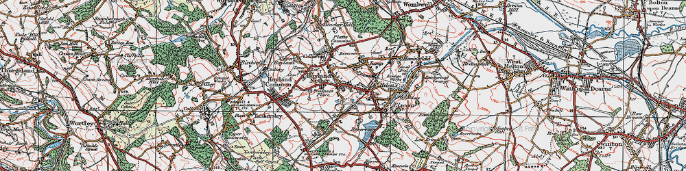 Old map of Hoyland in 1924