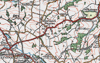 Old map of Hoylandswaine in 1924