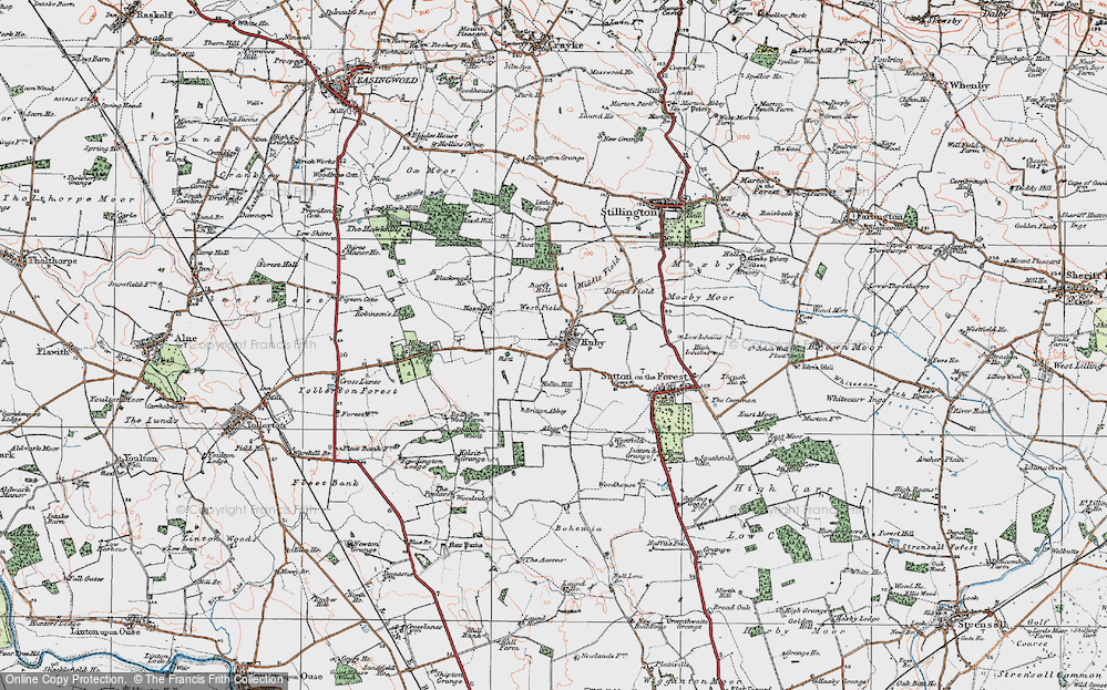 Old Map of Historic Map covering Barfs Hill in 1924
